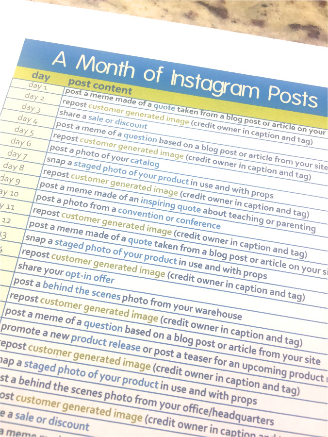 Instagram editorial calendar • a month of Instagram posts for the homeschool niche